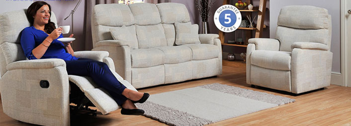 Woman using furniture in living room